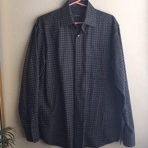 Ermengildo Zegna Black square design dress shirt